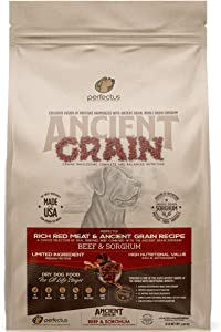 Perfectus Rich Red Meat and Ancient Grain Recipe - Natural, Non GMO, High Protein Premium Dry Dog Food 8 lbs Bag