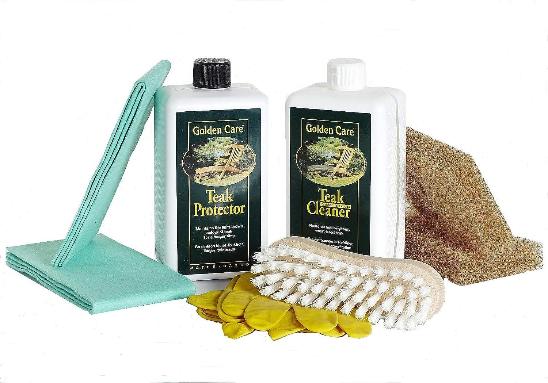 Golden Care Teak Protector + Cleaner Holzpflegeset 8tlg. Holz Reiniger Holzschutz Holzpflege für Gartenmöbel