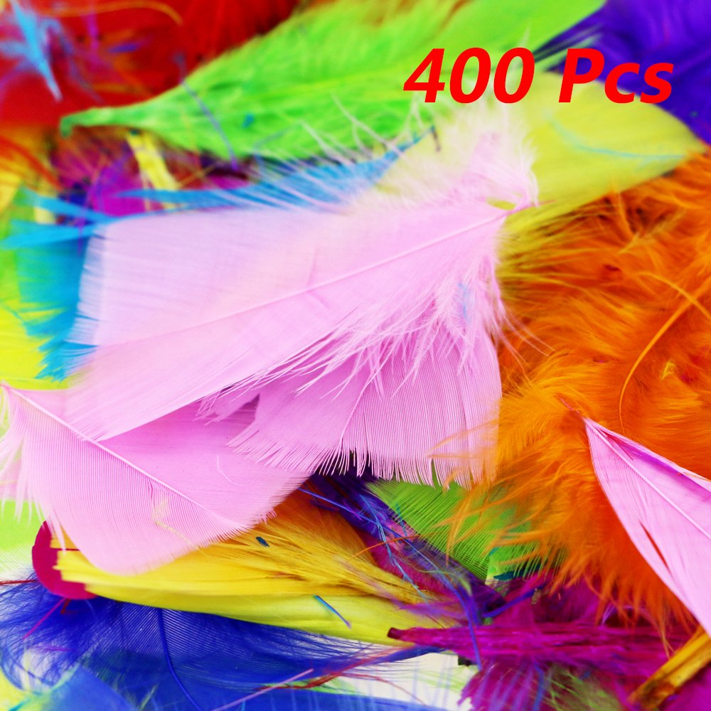 About 400pcs 2-3 Colorful Feathers in Bulk, DIY Colorful Goose Feathers, Multicolour Feathers, for Craft Wedding Home Party Decorations Etmact