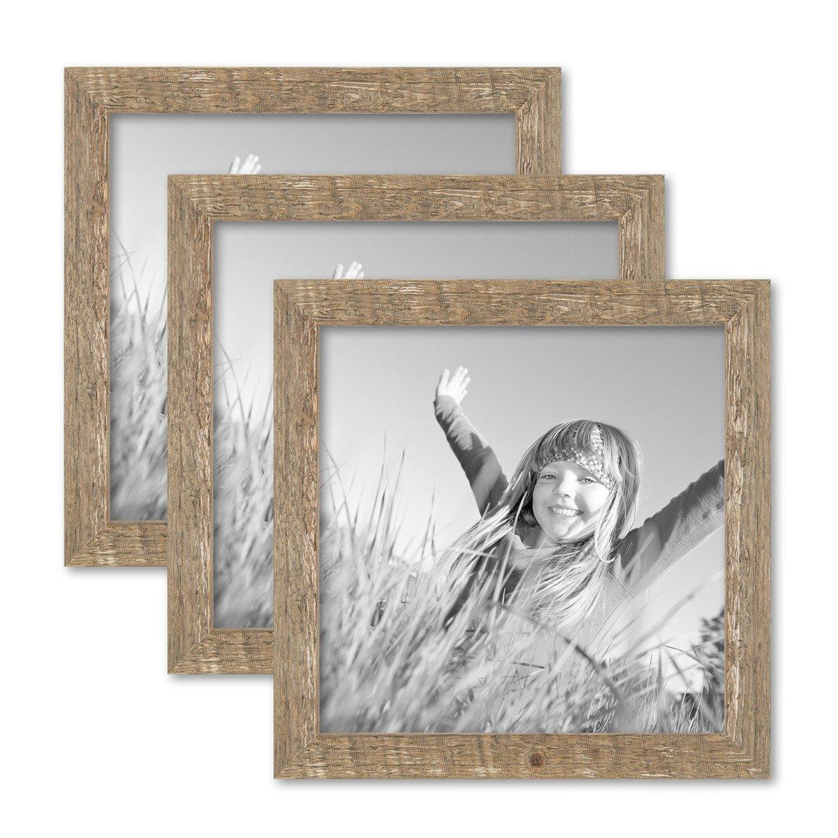 PHOTOLINI 3er Bilderrahmen-Set 30x30 cm Strandhaus Rustikal Eiche-Optik Natur Massivholz mit Glasscheibe inkl. Zubehör Fotorahmen
