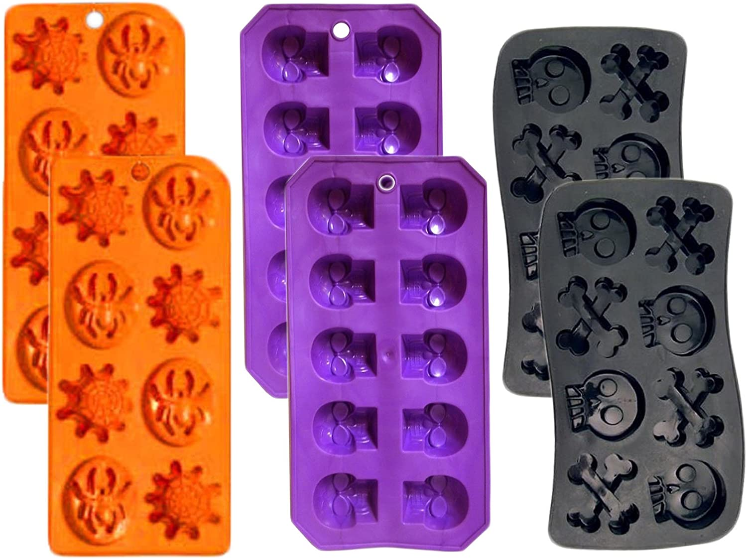 Set of 6 Spooky Halloween Shaped Ice Cube Tray/Food Molds - (2) skull and bones,(2) spider and webs,(2) skulls (6)