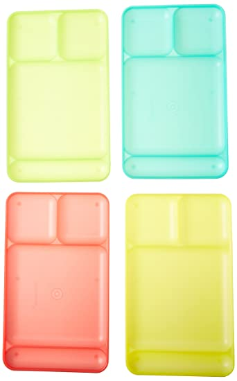 Tupperware Impressions Dining Trays Set Of 4 In Guava/Lime Yellow/ Salsa  Verde/