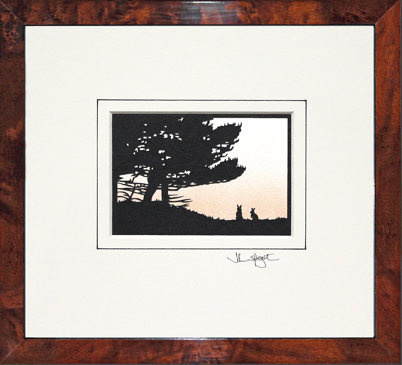 Rabbits Original Signed Hand Cut Silhouette Papercut Art by John Speight in Walnut Veneer Frame Gift for Him and Her