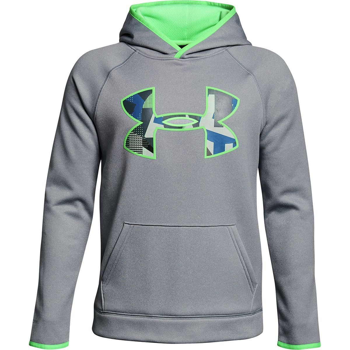 Under Armour Kids Boy's Armour Fleece Big Logo Hoodie (Big Kids) Steel Light Heather/Arena Green/Arena Green X-Small