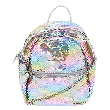 3dc0747d815e Claire s Girl s Reversible Sequin Mini Backpack Crossbody Bag - Rainbow.   Claire s  Amazon.co.uk  Clothing