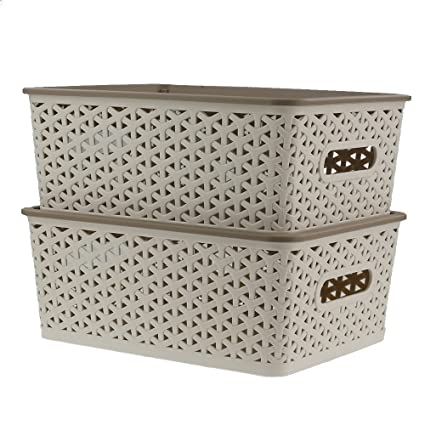 Superieur Ggbin 8 Quart Plastic Woven Storage Basket With Lid In Khaki, Set Of 2