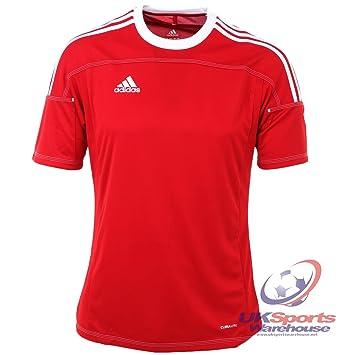 Adidas Toque 11 Climalite Manga Corta Camiseta roja/Raya Blanca PVP £35 Rojo/Blanco Talla:Mediano: Amazon.es: Deportes y aire libre