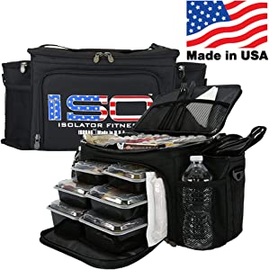 Meal Prep Lunch Box ISOBAG - Large Insulated 6 Meal Prep Bag/Cooler With 12 Containers, 3 Ice Packs & Shoulder Strap (Patriot) - MADE IN USA