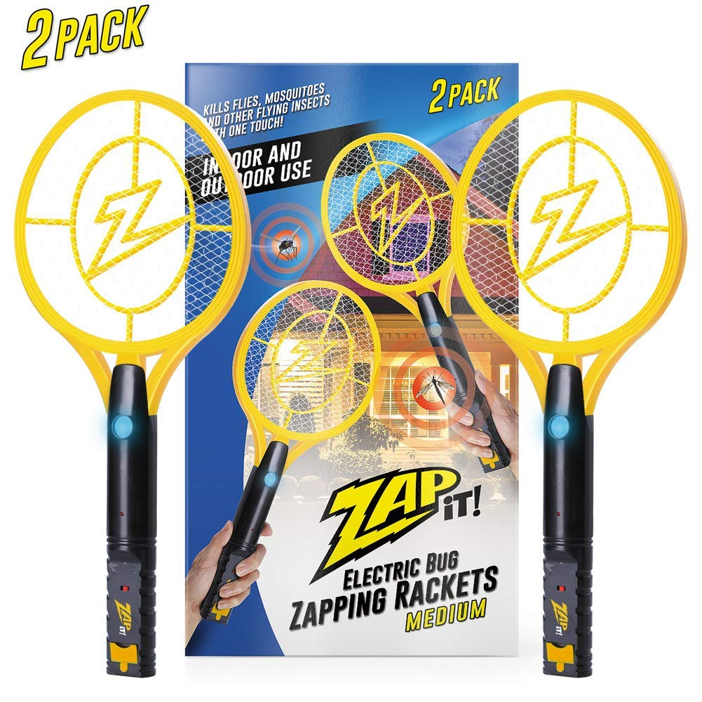 ZAP IT! Bug Zapper Twin Pack - Rechargeable Mosquito, Fly Killer and Bug Zapper Racket - 4,000 Volt - USB Charging, Super-Bright LED Light to Zap in The Dark - Safe to Touch ... (Twin Large) by ZAP IT!
