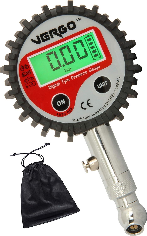 Vergo Digital Reifendruckmesser 0 200 Psi 0 14 Bar Reifendruckprüfer Präzision Reifendruck Messgerät Für Geländewagen Transporter Sprinter Lkw Fahrräder Mit Autoventilen Motorräder Autos Auto
