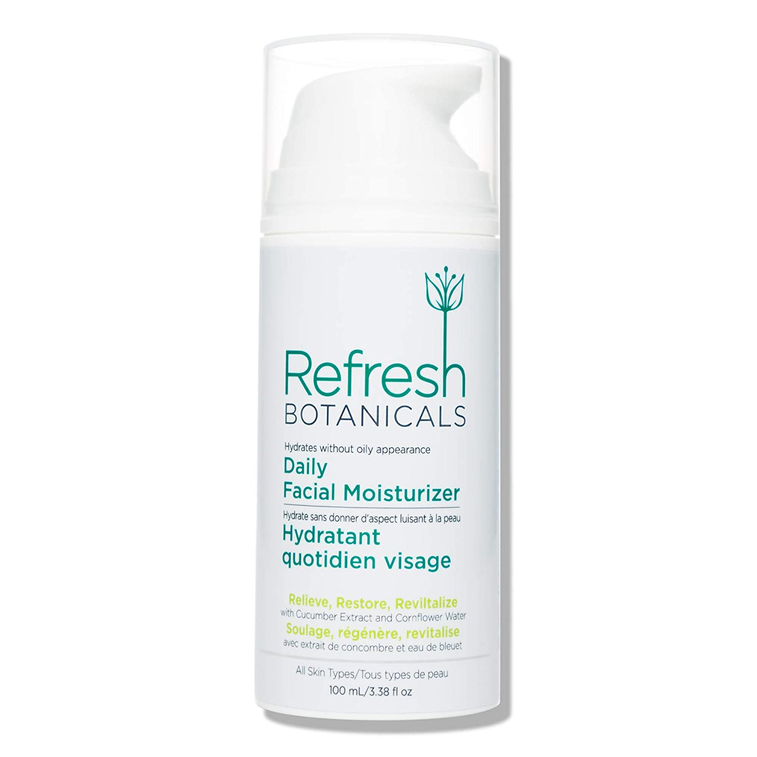 Refresh Botanicals Organic Face Moisturizer, A Natural Anti Aging Cream Lotion for Dry, Sensitive, Oily, Acne Prone Skin | Suitable to Use for Eczema, Rosacea, Psoriasis - Cucumber, 3.38 fl oz