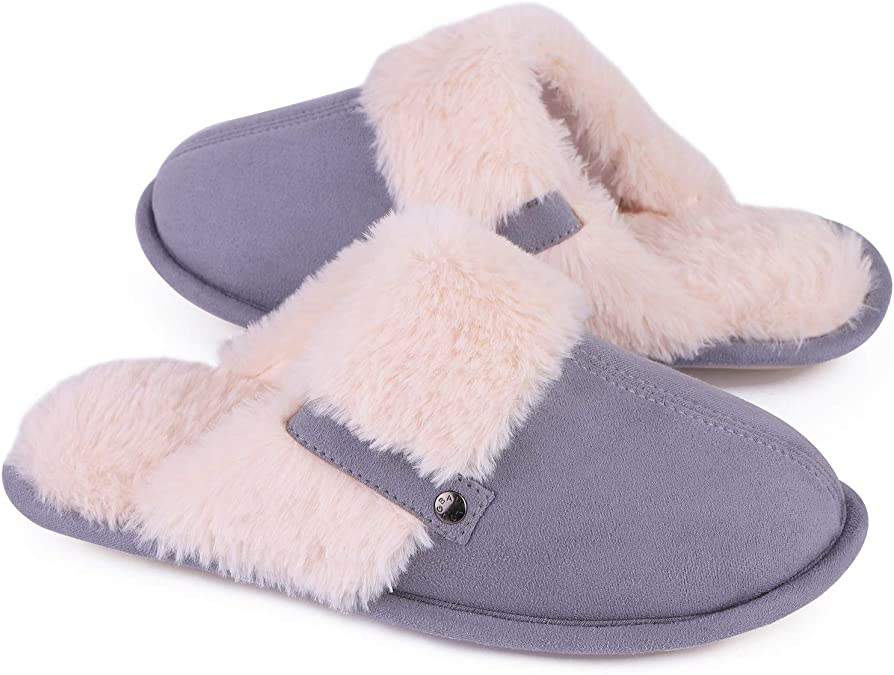 LongBay Women's Cozy Memory Foam Fuzzy Slippers Faux Fur Slip-On Flat Cute Slide House Shoes Grey