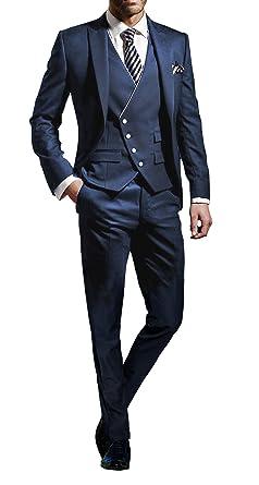 Suit Me Herren 3 Teilig Anzug Slim Fit Hochzeiten Party Smoking