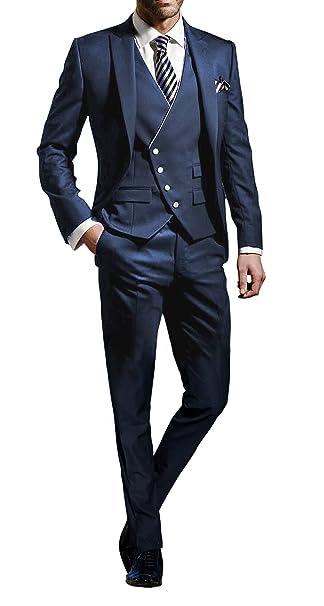 Suit Me Hombres 3 piezas juego delgado fiesta de bodas en forma trajes de  esmoquin de chaqueta e31360ef7330