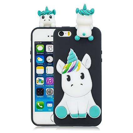 Leton Funda iPhone 5s Silicona Unicornio 3D Suave Flexible TPU Carcasa iPhone 5s/5/se Apple Ultra Delgado Mate Gel Tapa Antigolpes Goma Cubierta Case ...