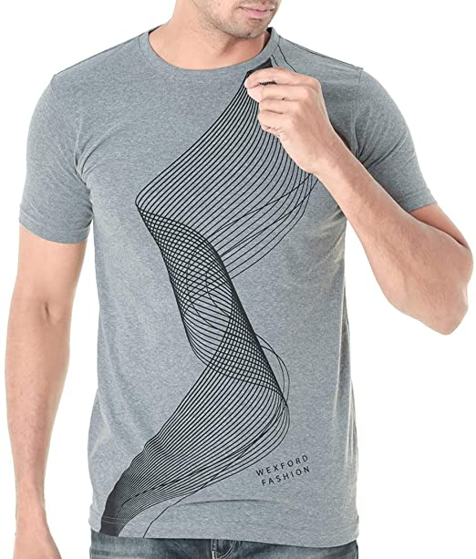 db258a2bcd1 WEXFORD Men s Half Sleeve Round Neck Printed Casual T-Shirt - WEX-HSPL043B   Amazon.in  Clothing   Accessories