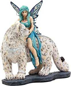 Ebros Large Blue Frost Fairy Riding Snow Leopard Statue Home Decor Mythical Fantasy Sculpture