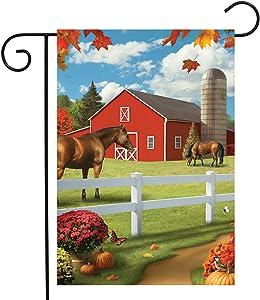 Briarwood Lane Pastures of Chance Fall Garden Flag Horses Autumn Barn 12.5