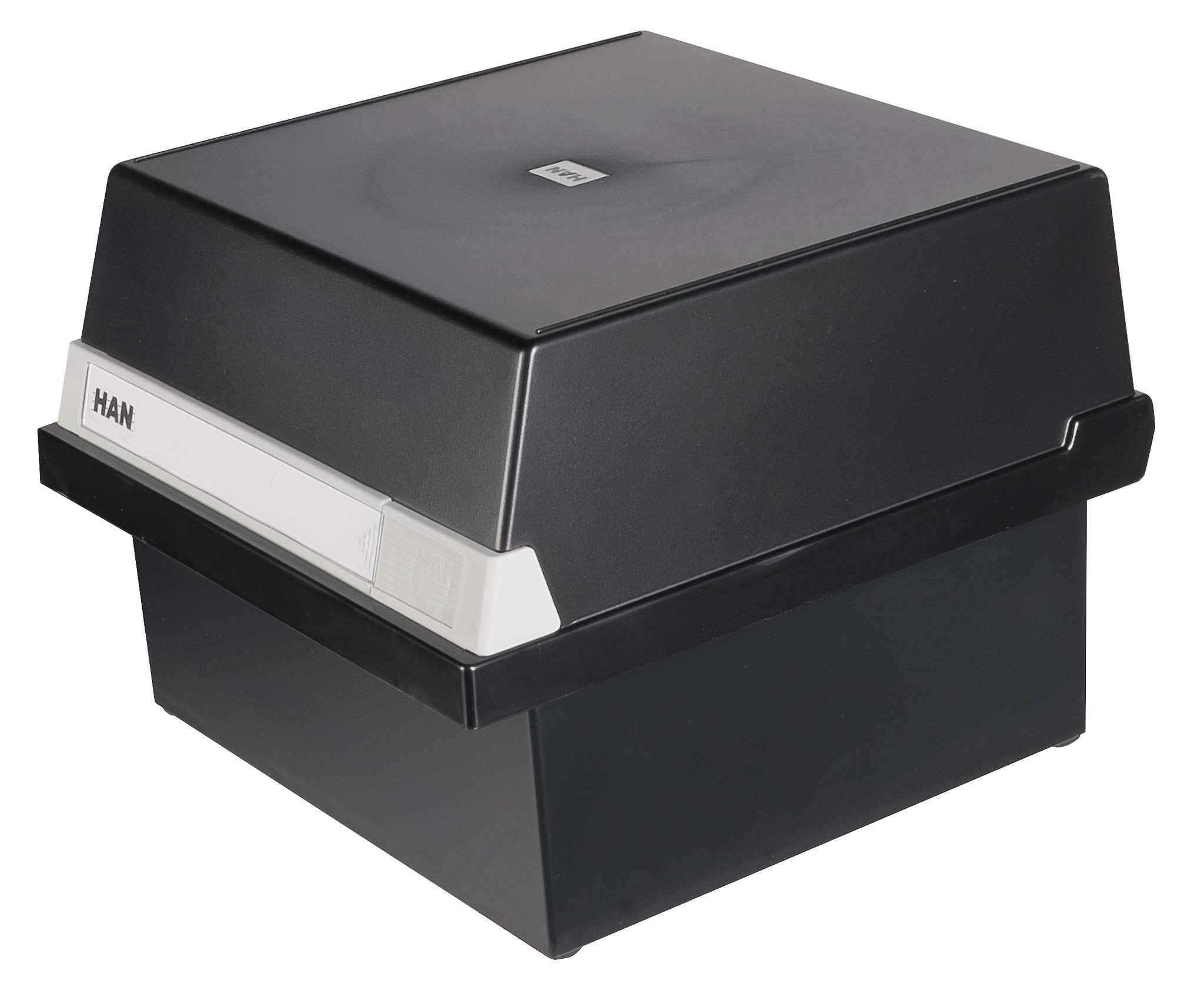 HAN 965-13, Card Filing Box A5 Landscape. Innovative, Attractive Design Holds 800 Cards, readjustable lid Supplied with Large Inscription Label, Black by HAN