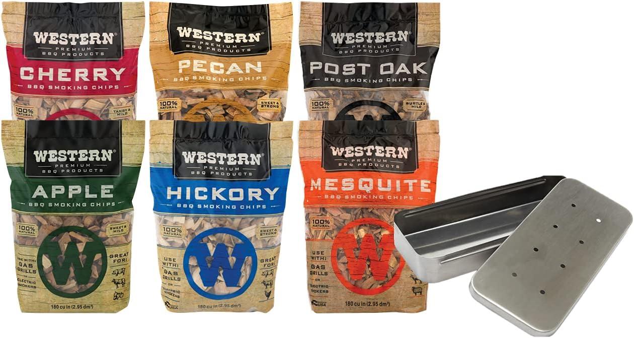 Western Premium Wood Smoking Chip Variety (Pack of 6) Bundled with Grill Mark Smoker Box