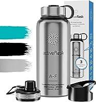 Botella de Agua Térmica Active Flask + 3 Tapones sin BPA - 1l & 950ml | Frasco Termo de Acero Inoxidable + Aislamiento Vacío | Cantimplora Aislada Oficina Bicicleta Deporte Caliente Fría Café Té