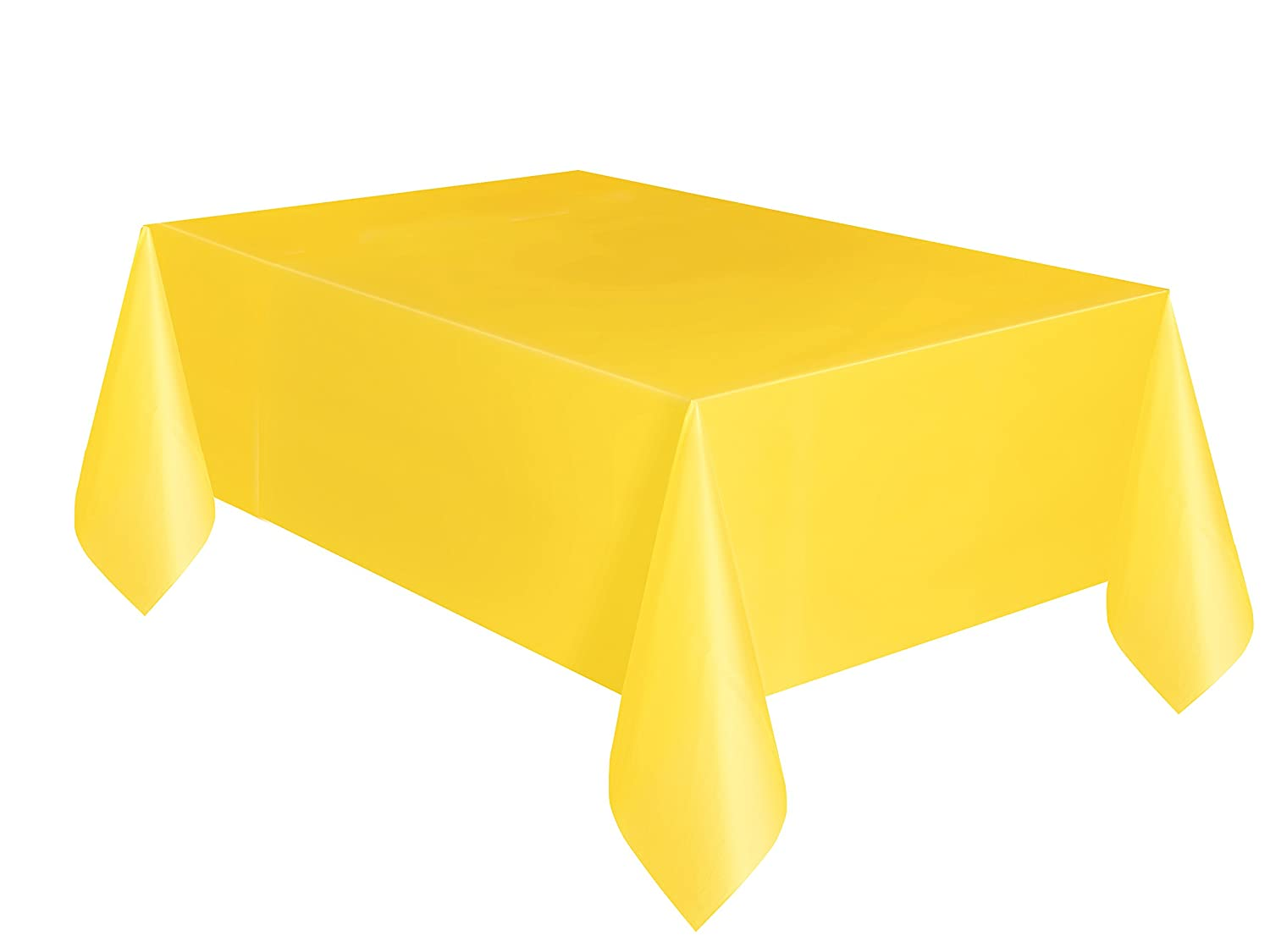 Unique Party 5093 - Yellow Plastic Tablecloth, 9ft x 4.5ft