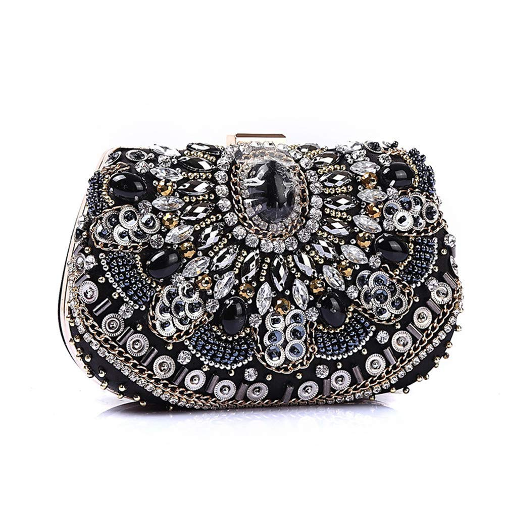 Huasen Evening Bag Evening Bag Clutch Box Handbag Evening Package Women's Hand Dress Bag for Party Purse Party Bridal Prom Party Handbag