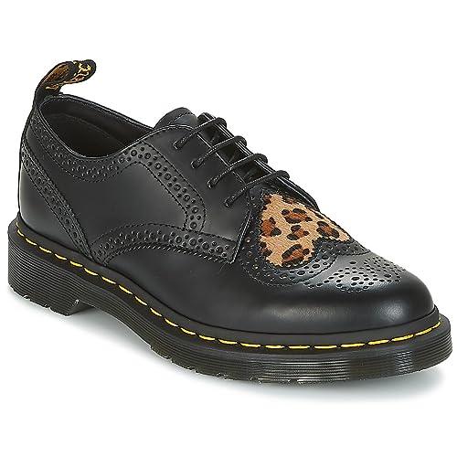 Dr. Martens Women's Joyce Heart Leather Lace Up Shoe Black/Medium  Leopard-Black