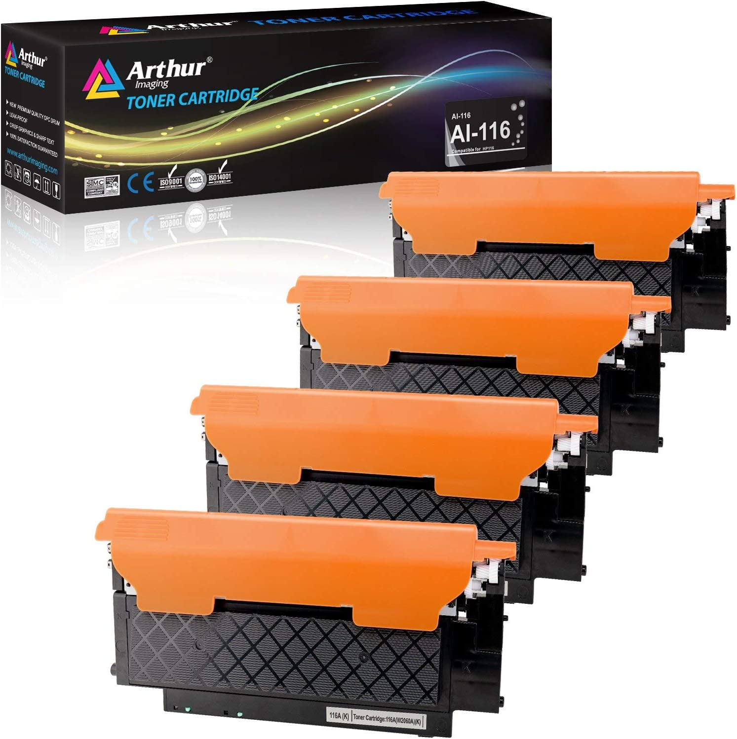 Arthur Imaging with CHIP Compatible Toner Cartridge Replacement for HP 116A W2060A, W2061A, W2062A,W2063A Use with HP 150A 150nw MFP178nw 179fnw Laser Printers (Black, Cyan, Yellow, Magenta, 4-Pack)