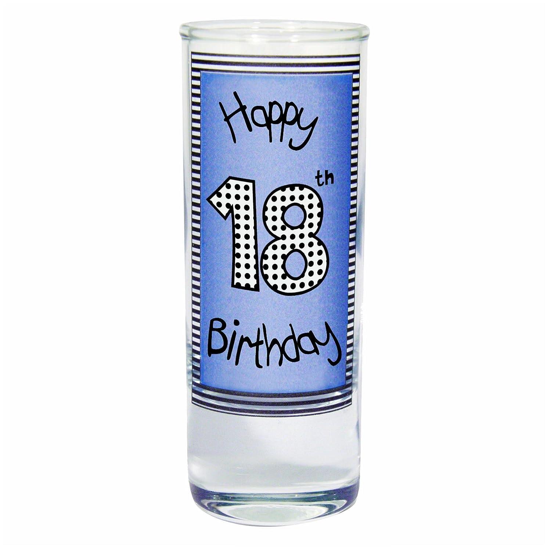 Blue 18th Happy Birthday Shot Glass PMC