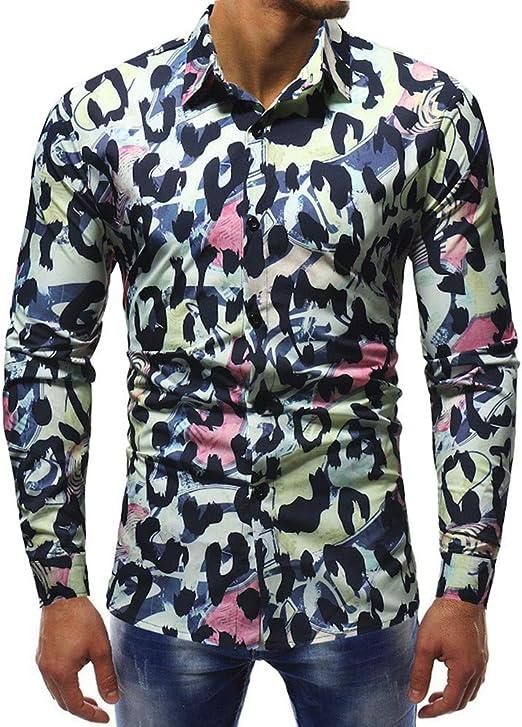 Mens Button Down Leopard Print Shirts Long Sleeve Slim Fit T Shirt Tops Blouse