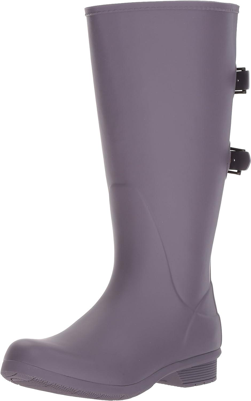 Amazon.com | Chooka Women's Wide Calf Memory Foam Rain Boot, Mulberry, 6 M US | Rain Footwear
