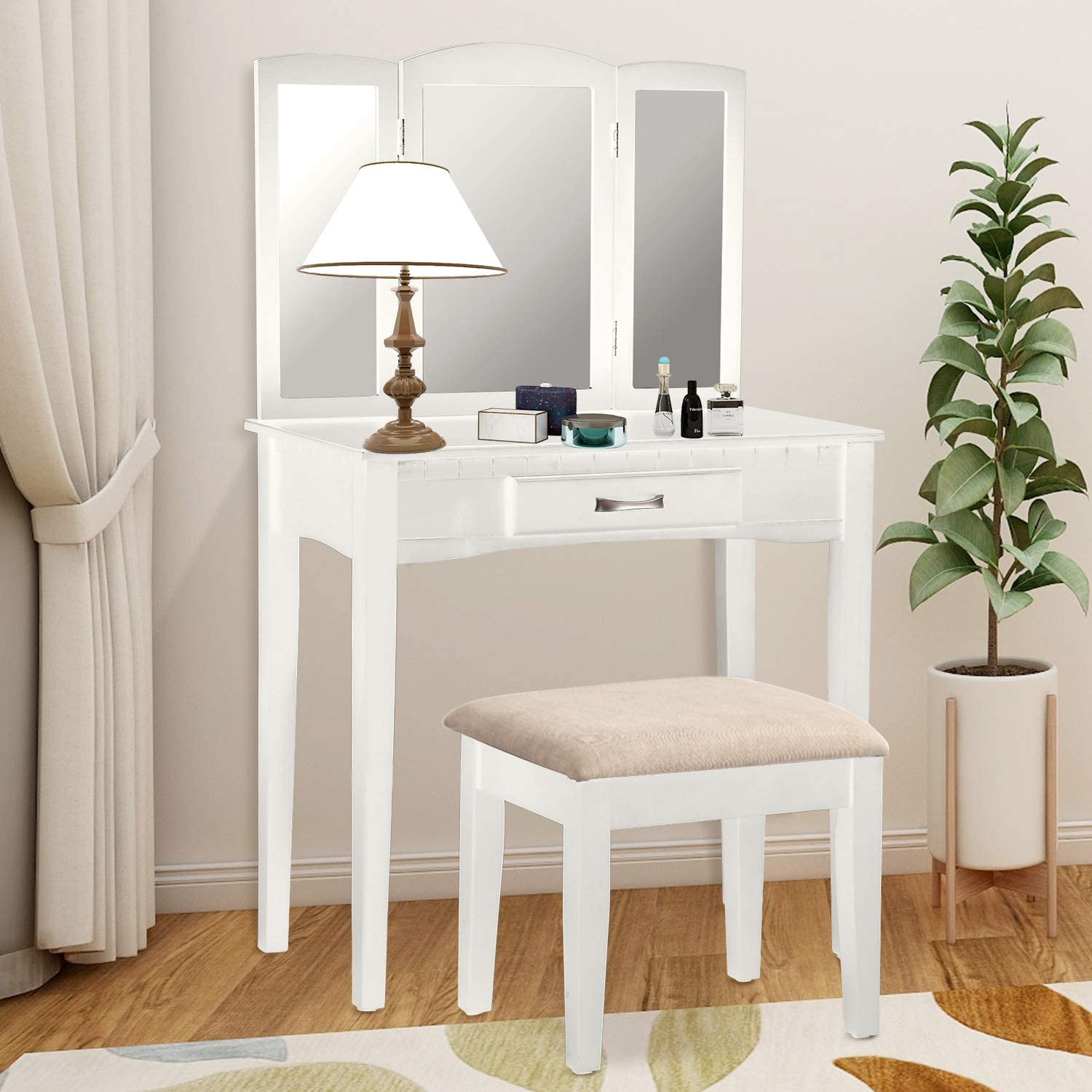 Harper Bright Designs Vanity Table Set with Tri-Fold Mirror and Stool Make-up Dressing Table Snow White