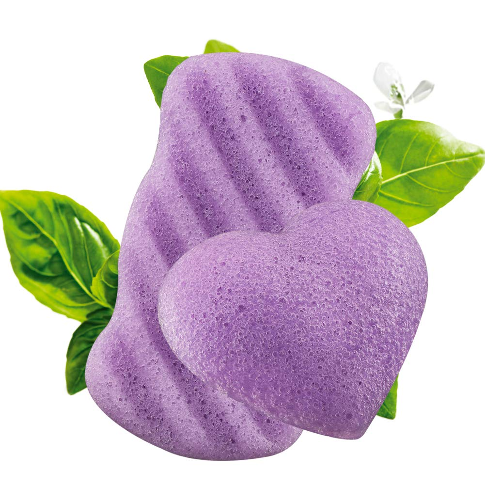 Flend Konjac Sponges All Natural Facial Body Sponge Set for Sensitive Skin, 2 Pack, Lavender Essence Face Cleansing Exfoliation (1Body+1 Facial)