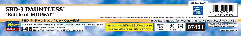 Hasegawa 1//48 US Navy SBD3 Dauntless Battle of Midway plastic model 07481