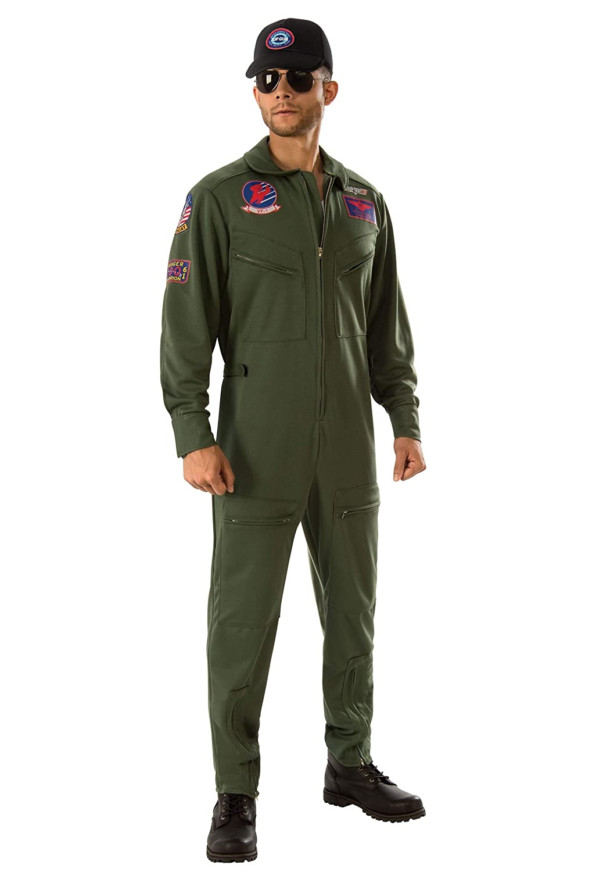 Plus Rubie's Top Gun Jumpsuit Men's Fancy Dress Costume Plus