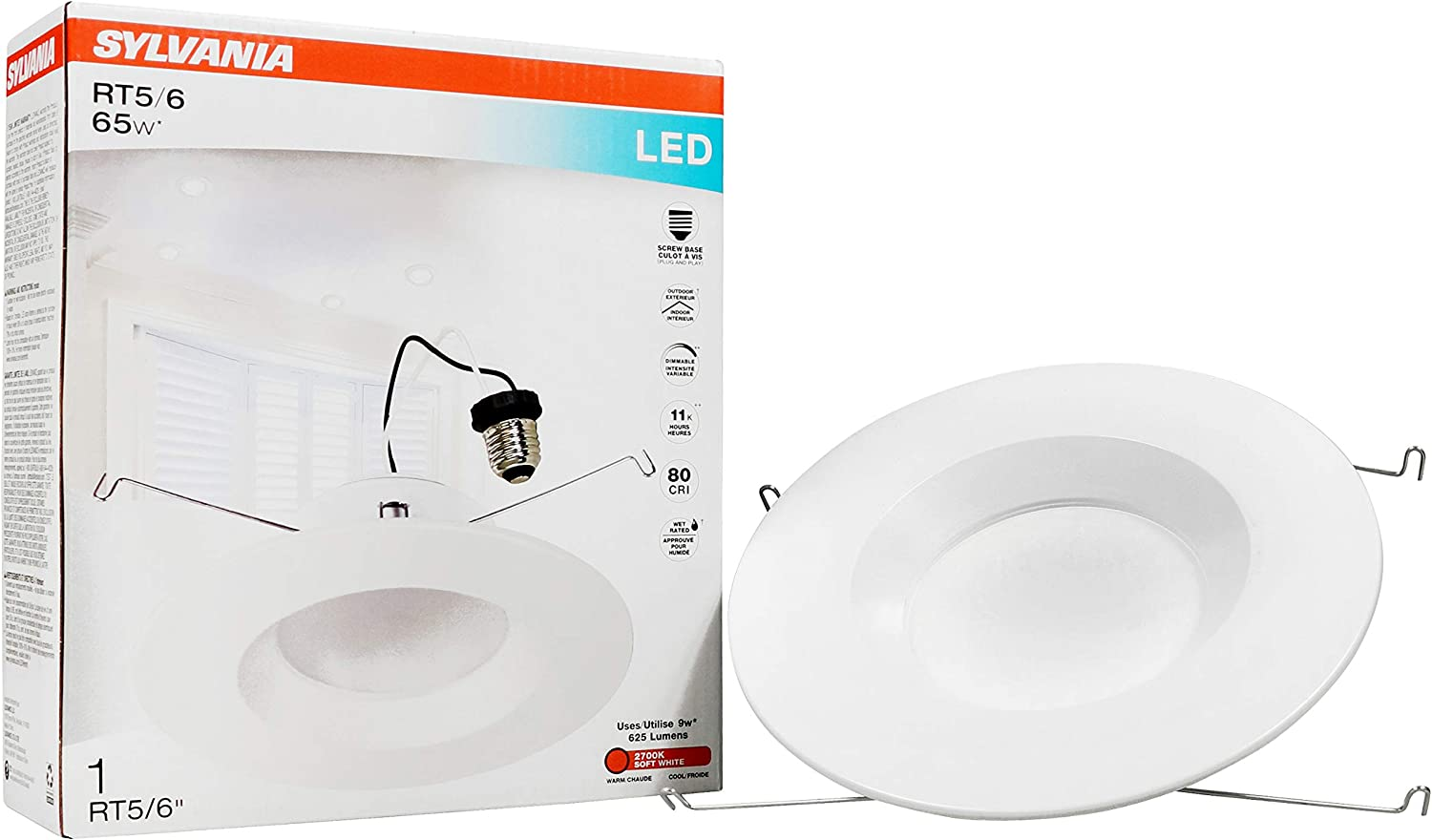 LEDVANCE 74405 LED Bulb 65W Equivalent Warm White 3000K Contractor Series RT 5/6 Recessed Downlight Kit