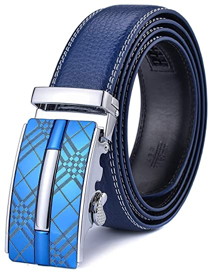 Blue Genuine Leather Mens Belts Italian Automatic Ratchet Buckles Waistband Gift