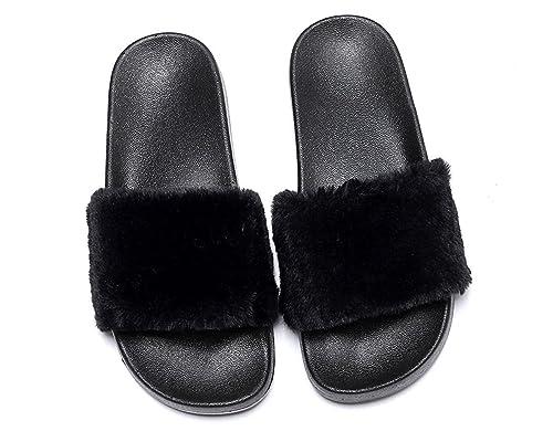 e26154af4d6 Charles Albert Women s Soft Faux Fur Marabou Flat Slide Sandal