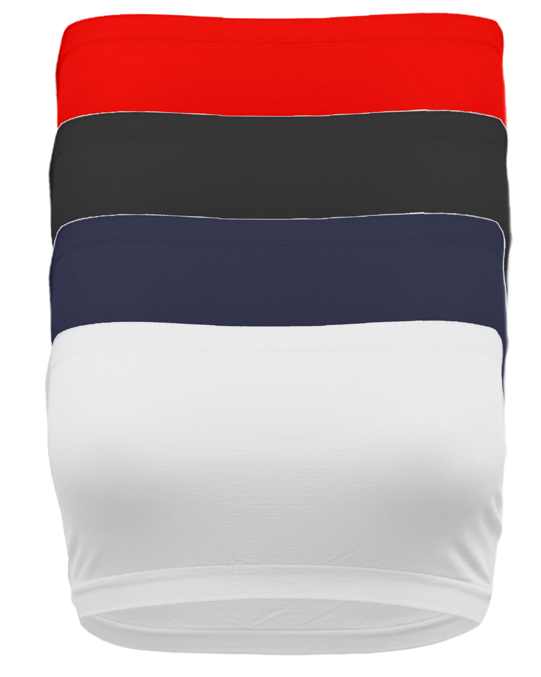 TL Women's 4 Pack One Size Strapless Seamless Active Base Layer Bandeau Tube Top BK_NAV_WHT_RED