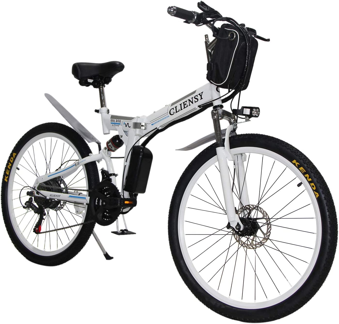 CLIENSY 26 Inch Electric Bike, 350W Folding Ebike with Removable 36V 8AH Lithium Battery for Adults, 21 Speed Shifter White