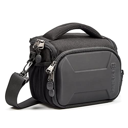 Evecase SLR Digital Camera Holster Shoulder Bag, Compact System Carrying Case Feature Shell for Superior Protection, Multiple Pockets for Accessories, Shock and Water Resistant Material -Black
