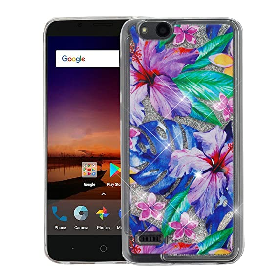ZTE ZFive G LTE Z557BL Case - Liquid Quicksand Glitter Waterfall Hybrid TPU  Gel Fusion Protective Cover Case - (Watercolor Hibiscus) and Atom Cloth