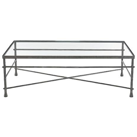 Amazoncom Rand Industrial Loft Pewter Grey Glass Coffee Table - Pewter glass coffee table