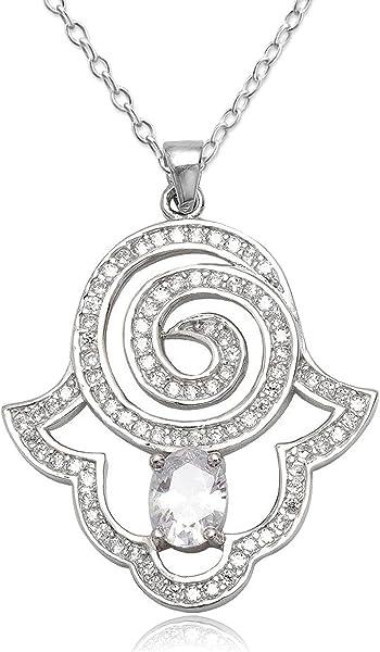 59d5ea417f9e EYS JEWELRY® collar para señora 40 cm mano de Fátima Hamsa 35 x 30 ...