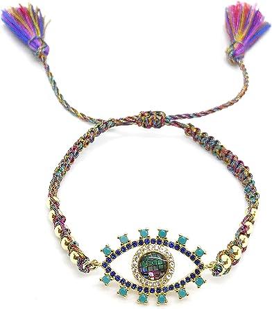 Charm bracelets 18K coloré Zircon Micro Pave evil eye Beads Bracelet Connecteur
