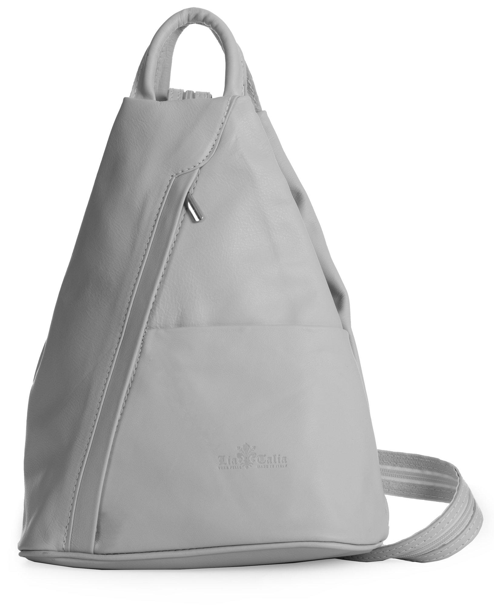 LiaTalia Unisex Soft Italian Leather Convertible Strap Small Backpack Rucksack Duffle Bag - Alex [Light Grey]
