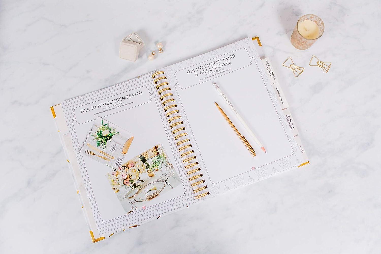 German Wedding Planner Hochzeitsplaner Deutsch Organizer Buch /& Hochzeit Kalender Marmor Design Gold