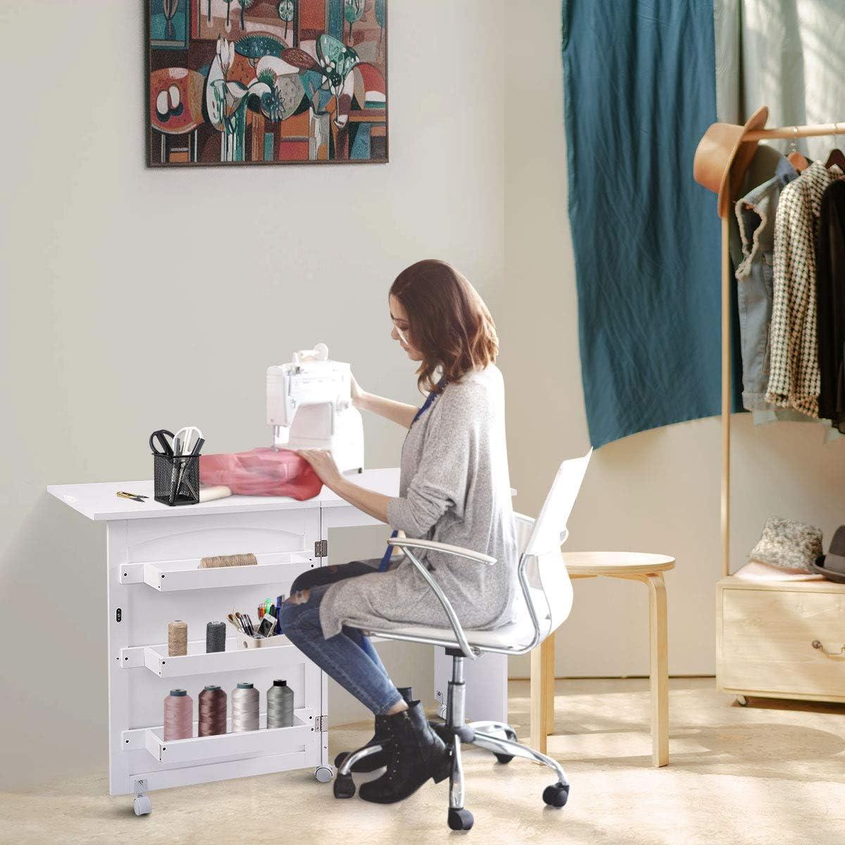 Goplus - Mesa de Costura Plegable con Ruedas para máquina de Coser ...
