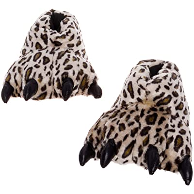 Silver Lilly Leopard Paw Slippers - Plush Novelty Animal House Shoes w/Comfort Foam (S) Orange/Brown | Slippers